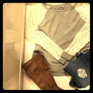 Gray sweatshirt with lace sleeves only
